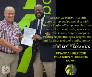 Joseph Kawonza receiving Rugby Equipment from The Paramount Garments Financial Director Youmans